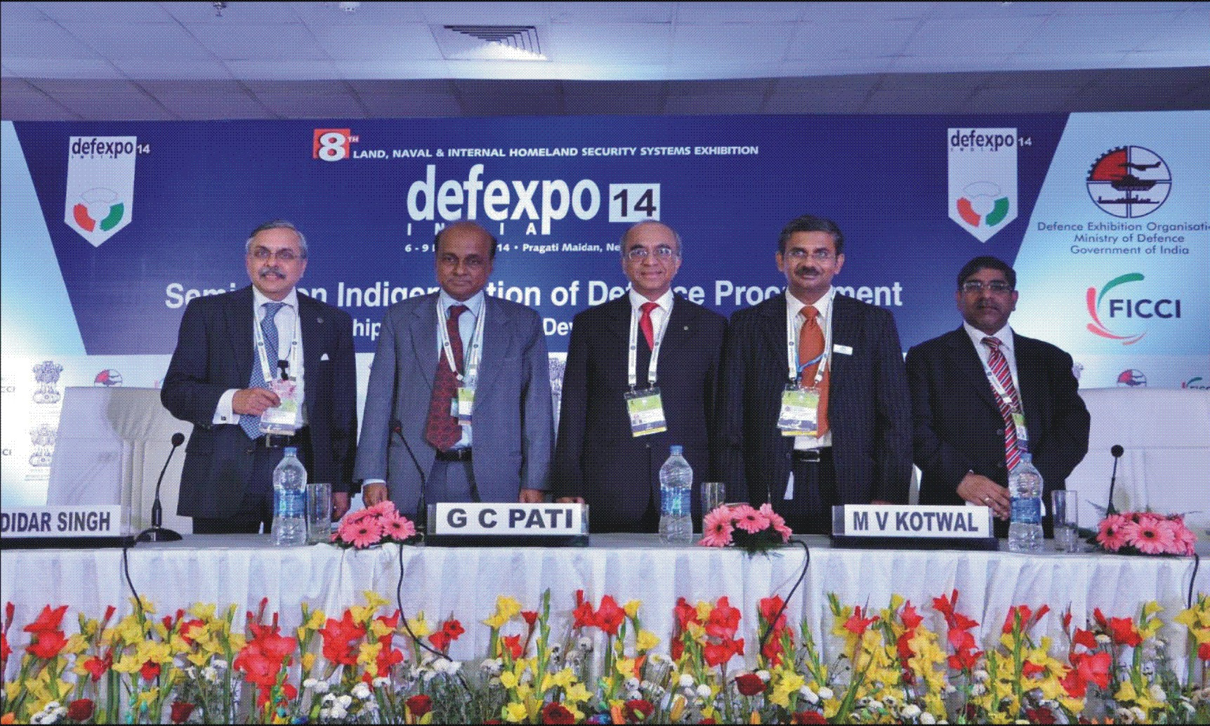 Inaugural Session (L to R) Dr. A. Didar Singh, Secretary General, FICCI; Mr G C Pati, Secretary (DP), Ministry of Defence; Mr M V Kotwal, Chairman, FICCI Defence Committee / Member of the L&T Board & President  Heavy Engineering, Larsen & Toubro Ltd.; Mr Rahul Chaudhry,... 			